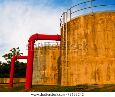 Tanks at water treatment plant. - stock photo