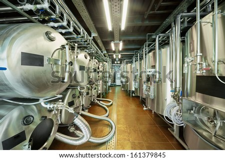 Tanks in microbrewery - stock photo