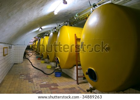 Tanks in which wine grows ripe