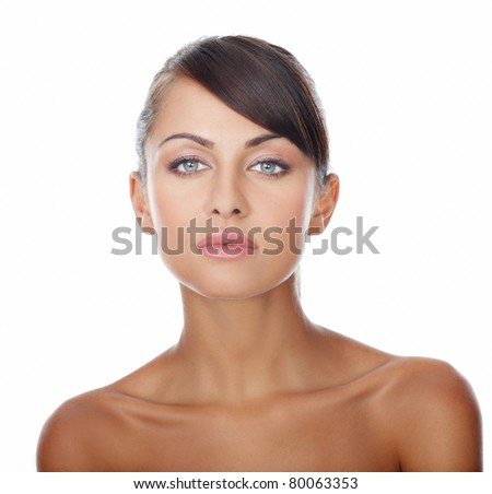 Tanned beautiful and sexy woman on white - stock photo