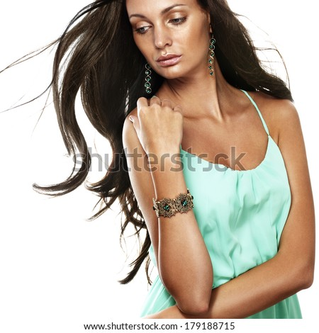Tanned beautiful woman on white - stock photo