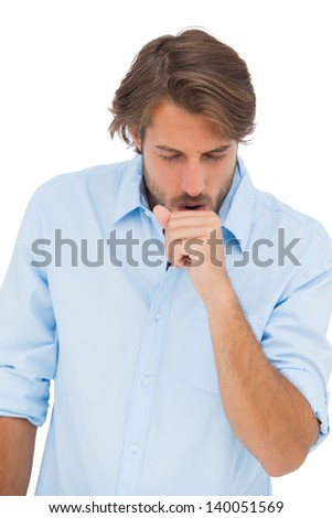 Tanned man coughing on white background - stock photo