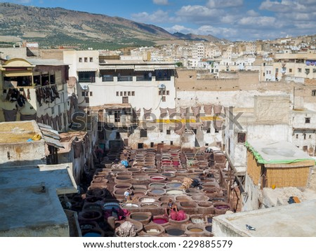 Tanneries of Fes -  Morocco. - stock photo