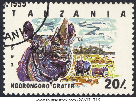 TANZANIA - CIRCA 1993: A stamp printed in Tanzania dedicated to Ngorongoro crater, shows rhinoceros, circa 1993 - stock photo