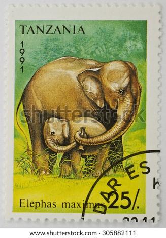 TANZANIA - CIRCA 1991: a stamp printed in Tanzania shows image of an Indian elephant (Elephas maximus), series, circa 1991.  - stock photo