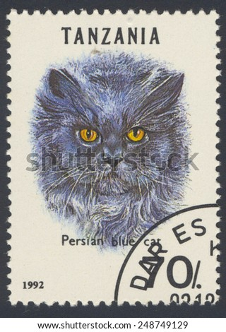 TANZANIA - CIRCA 1992: A stamp printed in the Tanzania shows cat, circa 1992. - stock photo