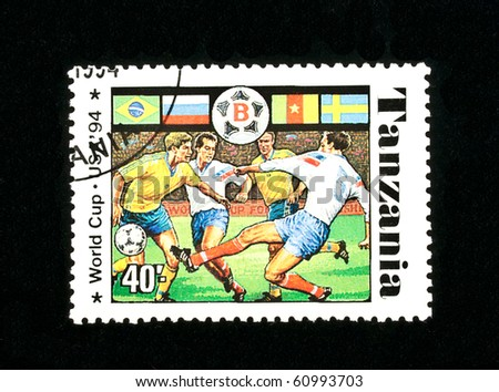 TANZANIA - CIRCA 1994: A stamp printed in the Tanzania shows football players ((FIFA World Cup, USA, 1994), circa 1994. 3 postage stamp series