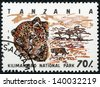 TANZANIA - CIRCA 1993: Stamp printed in Tanzania dedicated to Kilimanjaro national park, shows leopard, circa 1993 - stock photo