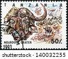 TANZANIA - CIRCA 1993: Stamp printed in Tanzania dedicated to Ngurdoto crater, shows buffalo, circa 1993 - stock photo