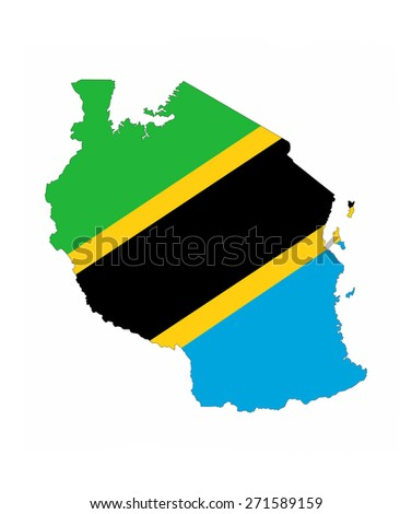 tanzania country flag map shape national symbol - stock photo