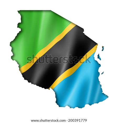 Tanzania flag map, three dimensional render, isolated on white - stock photo