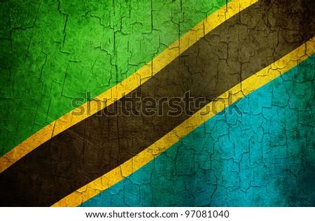 Tanzania flag on a cracked grunge background - stock photo