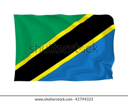 Tanzania. High resolution African Flag series. With fabric texture.