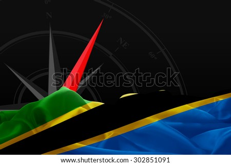 Tanzania High Resolution flag and Navigation compass in background - stock photo