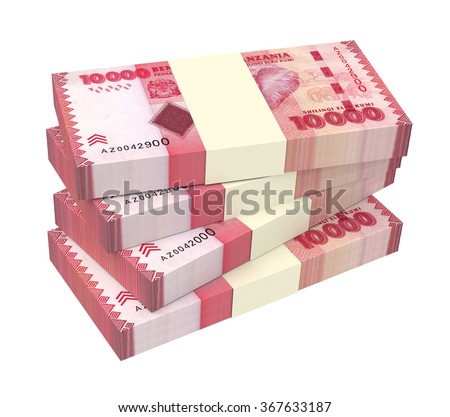 Tanzanian Shilling Bills Isolated On White Stock Illustration