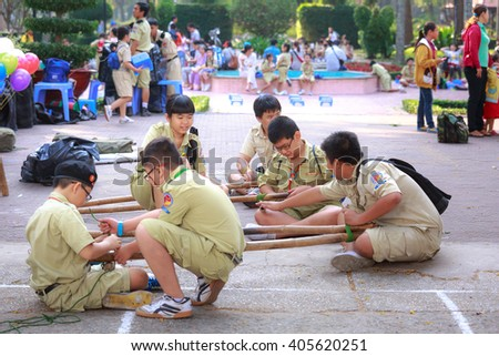 Tao Dan park, Ho Chi Minh City, Vietnam - March 13, 2016 : the images of the scouts when they have outdoor activities  in a Tao Dan park in HoChiMinh city