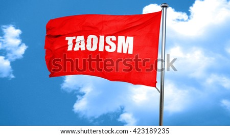 taoism, 3D rendering, a red waving flag - stock photo