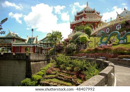 taoist temple and garden in cebu, philippines - stock photo