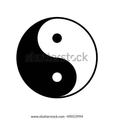 taoistic symbol of harmony and balance - stock photo
