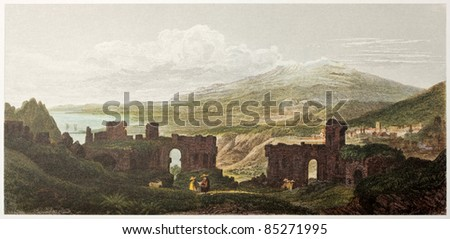Taormina Greek theatre old view, Sicily. Created by De Wint and Wallis, printed by McQueen, publ. in London, 1821. Ed. on Sicilian Scenery, Rodwell and Martins, London, 1823 - stock photo