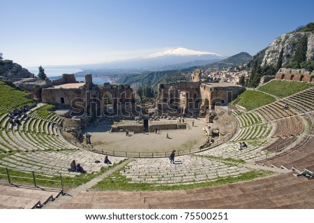 Taormina, teather. greek, roman, Etna, Sicily, Italy