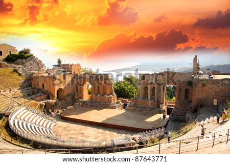Taormina theater in Sicily, Italy