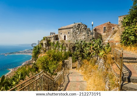Taormina town medieval church view from high. Sicily, Italy - stock photo