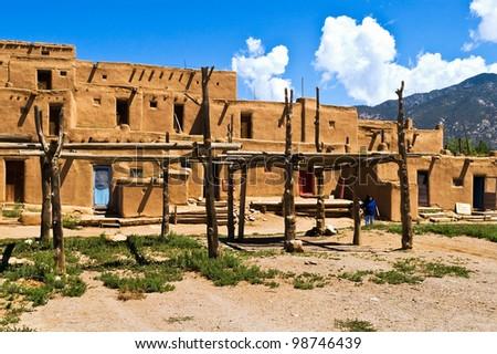 Taos Pueblo, New Mexico, USA - stock photo