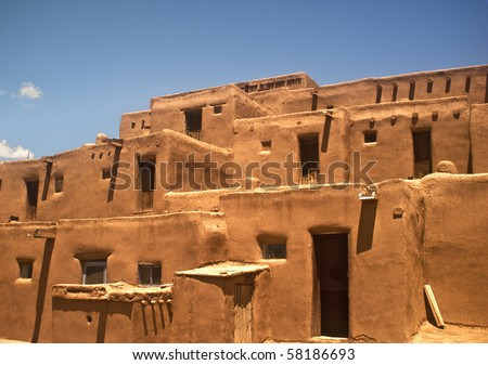 Taos Pueblo view - North Section - This is the oldest city in the United States - stock photo