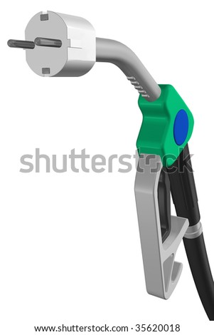 tap of a petrol station with electrical plug