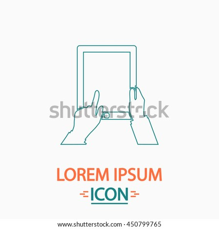 Tap Tablet Flat thin line icon on white background. Illustration pictogram - stock photo