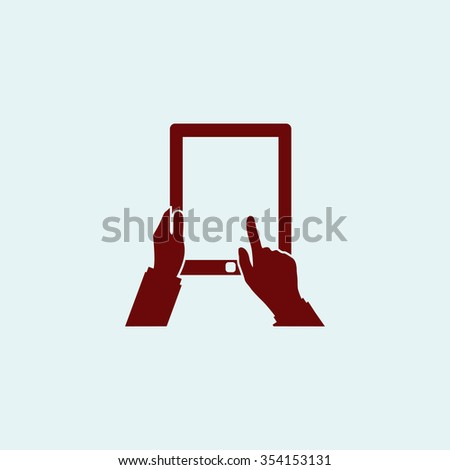 Tap Tablet Red flat icon. Simple illustration pictogram - stock photo