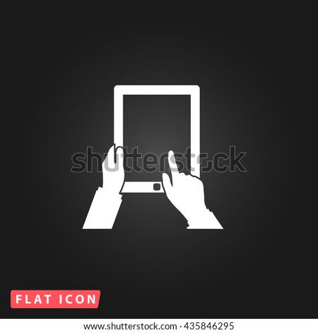 Tap Tablet White flat icon on dark background. Simple illustration pictogram - stock photo