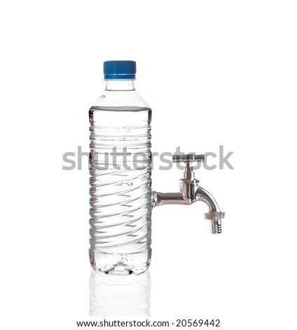 Tap water isolated on white background - stock photo