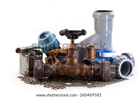 Tap water, plastic pipes for sewerage, connections and clamps - stock photo