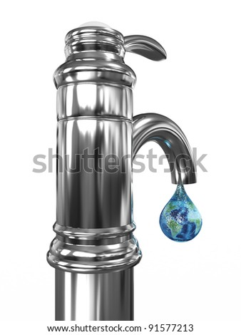Tap water with a drop in which the planet earth. 3D image - stock photo