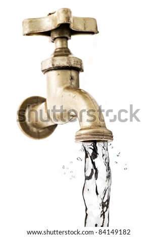Tap, with flowing water, white background. - stock photo