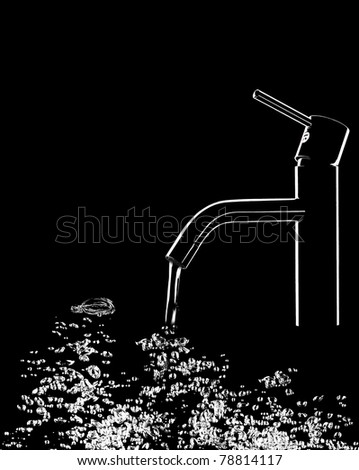 Tap with water and bubbles - stock photo