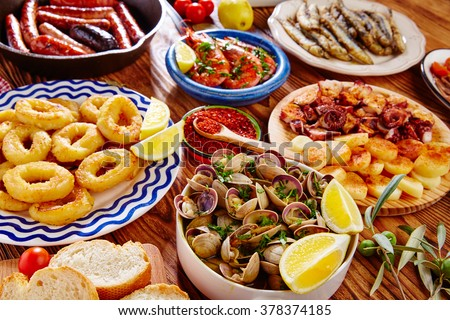 Tapas from spain varied mix of most popular tapa mediterranean food