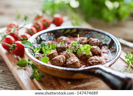 tapas - meatballs  - stock photo