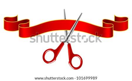 Tape and scissors, bitmap copy - stock photo