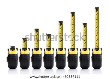 Tape measure bar graph concept - stock photo