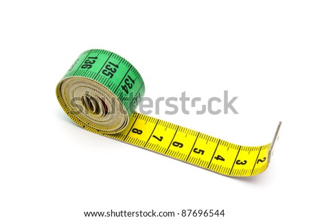Tape measure closeup on white background
