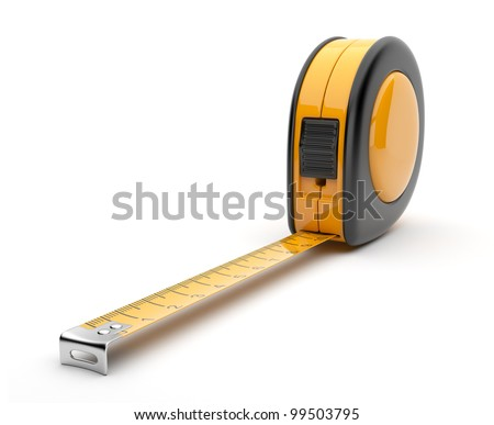 Tape measure 3D. Construction tool. Icon isolated on white background - stock photo