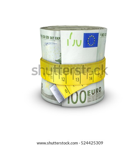 Tape measure euros / 3D illustration of measuring tape tightening around roll of bank notes