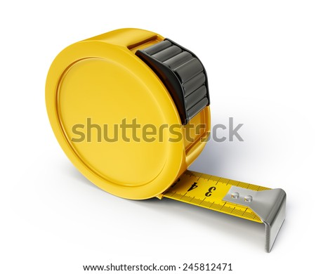 tape measure isolated on a white. 3d illustration - stock photo