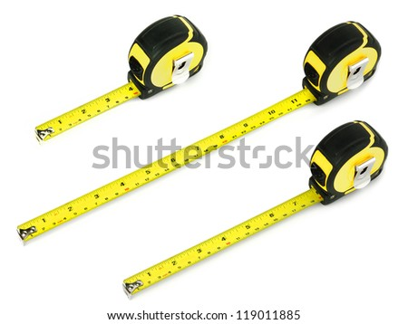 tape measure on a white background - stock photo