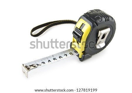 Tape measure on the white background - stock photo