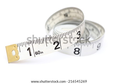 Tape Measure on white background. - stock photo