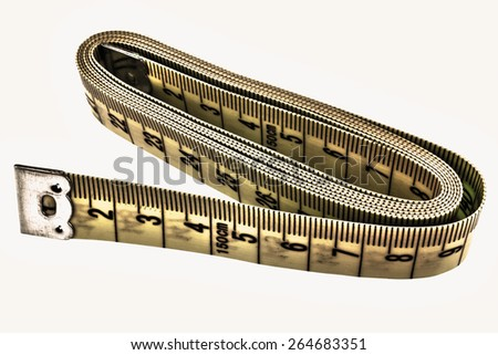 Tape measure on white background - stock photo